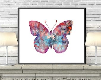 Butterfly Art Print, Watercolor Painting Butterfly, Nature Art, Butterfly Decor, Butterfly Art Illustration, Home Wall Decor - 70A