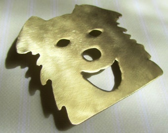 Dog brooch Gold animal jewelry Laughing dog Happy dog Cut out Brushed Handmade Greek jewelry
