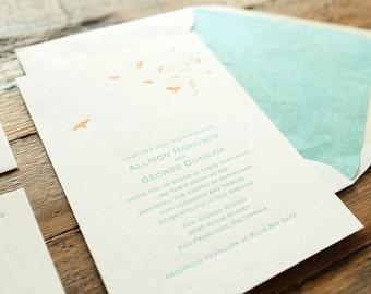 wedding letterpress invitation coastal