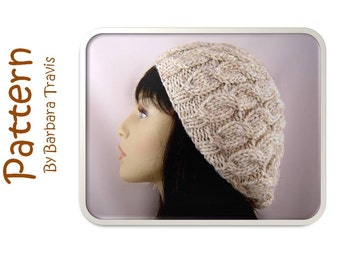 Knitting Pattern Chunky Slouch Beret Cable Design H1008