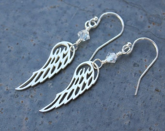 Winged Earrings - Sterling silver angel wing charms, birthstone crystals, sterling silver hooks -  free shipping USA