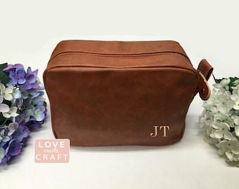 Groomsmen Gift Wedding Brown Shaving Bag Personalized Leather Dopp Kit Groom Travel Toiletry Husband Father Brother Boyfriend