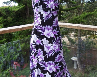 Hawaiian, Dress, Tropical, Sundress, Long, Black, Floral Dress, M