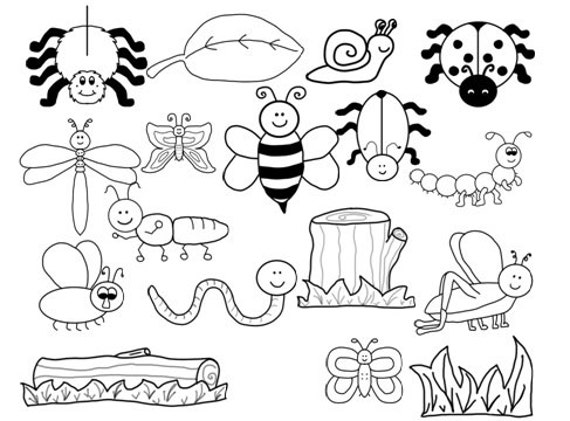 items similar to black and white bug clip art on etsy
