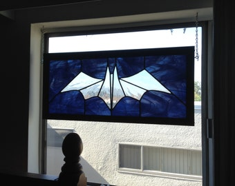 Batman Inspired Logo Stained Glass Leaded Panel Framed approx 30 1/2 x 14 inches - pick up or local delivery only NO SHIPPING
