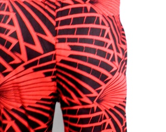 Red & Black Cotton African Print Below Knee Shorts  Size M
