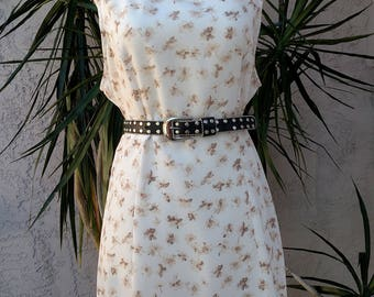 1990's cream dress, floral, empire waist, scoop neck, sleeveless, knee length, vintage