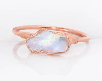 Rose Gold Opal Ring, Gemstone Ring, Opal Engagement Ring, Raw Crystal Ring, Promise Ring, Opal Ring Gold, October Birthstone, Blue Opal Ring