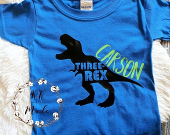 Dinosaur birthday shirt, boys dinosaur birthday shirt, third birthday shirt, dinosaur third birthday, three rex shirt, customized birthday