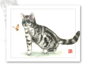 Watercolor Chinese Brush Painting Cards -  Kitten
