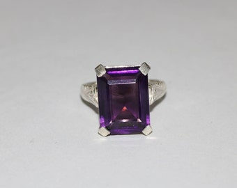 African Amethyst Faceted Rectangle Sterling Silver Ring -Silver Ring  -Amethyst Faceted Ring -Purple Stone Ring -Amethyst Hydro-Faceted Ring