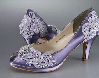 Womens Wedding Shoes, Vintage Lace Wedding Shoes, Bridal Shoes,Women's Bridal Shoes, 250 Colors, Dyed Wedding Shoes, Pink2Blue Bridal Shoes