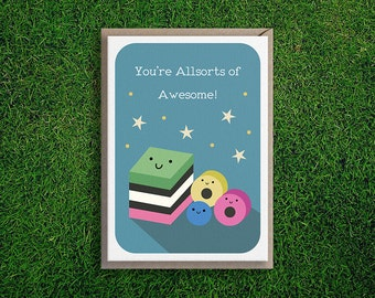 Greeting Cards | Congratulations Card, Encouragement, Friendship, You Are Awesome Cute & Quirky Pun, Blue.
