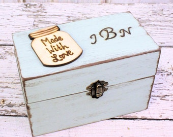 Recipe Box, Personalized Recipe Box, Rustic Recipe Box, Recipe Organizer, Wedding Gift, Bridal Shower Gift 4 x 6 Recipe Cards