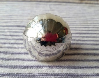 Mercury glass silver mirrored glass knob pull large ribbed round shape Hollywood Regency hardware