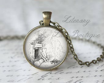 Winnie the Pooh, Classic Pooh Illustration, A. A. Milne Necklace or Keyring, Keychain.
