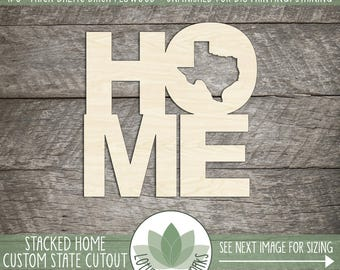 Wood HOME Sign With State Cut Out, All States Available, Wooden Home State Sign, Housewarming Gift, Unfinished DIY Home Decor, Gallery Wall