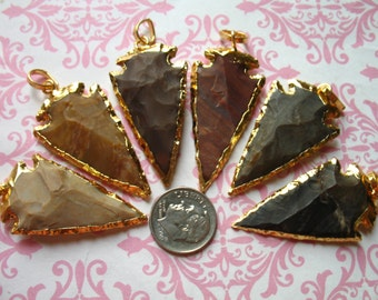 "Sale..1 5 10 25 pcs, Sterling Silver or 24k Gold Electroplated JASPER ArrowHead Arrow Head Pendant Charm, 1.5"", petite, ap10.5 wholesale js"