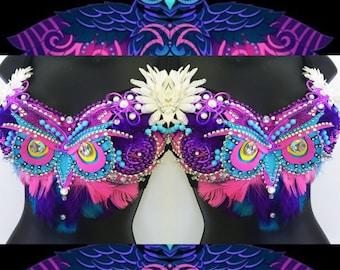 Electric Owl Bra (LED lights): rave wear, festival, edm, rave bra, halloween, carnival, kandi, plur, NYE, rainbow, night owl