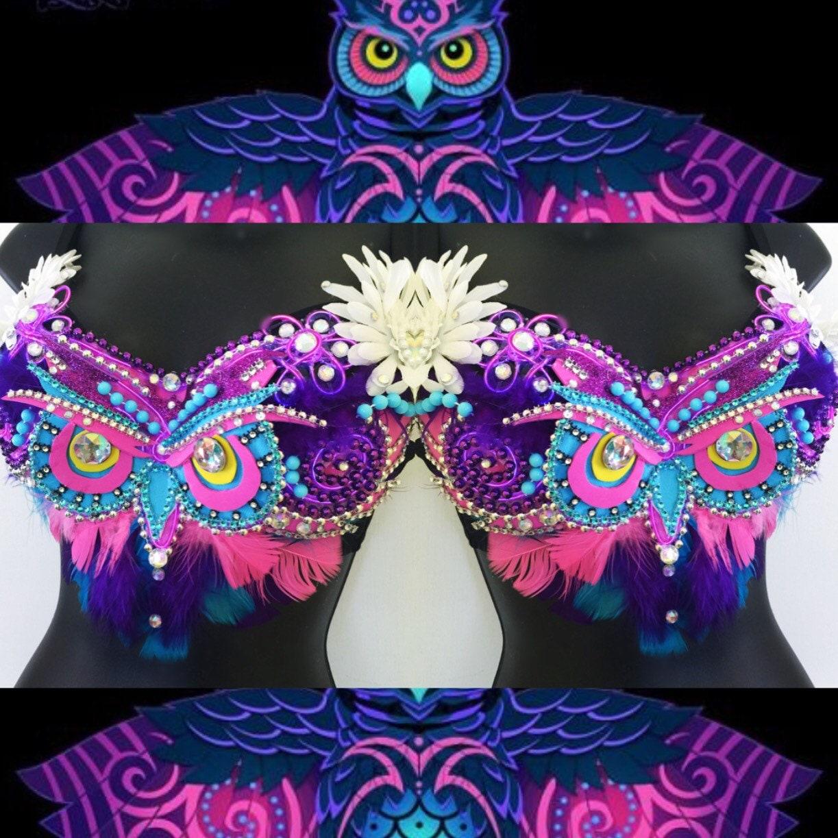 Electric Owl Bra LED lights: rave wear festival edm rave