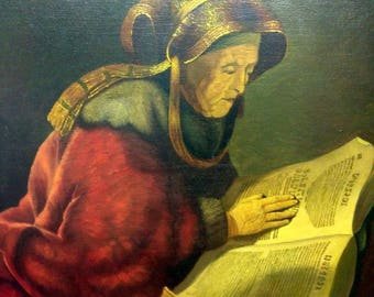 Old Vintage Oil Painting Portrait of Woman Reading a Book Scholar Jewish Copy