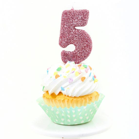 """3"""" Number 5 Candle, Giant 5 Candle, Blush Pink Party, Pink Gold Birthday, Blush Pink Candle, Gold Birthday Candle, Glitter Birthday"""