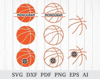 Basketball Monogram SVG, Basketball SVG, Sports SVG, Basketball Clipart, Screen Printing, cricut & silhouette, vinyl, dxf, ai, pdf, png, eps