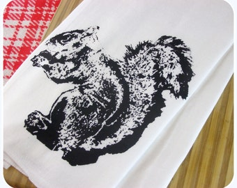 Kitchen Towel Squirrel Tea Towels Woodland design dish cloths Screen Print - Indie Housewares cute animal prints
