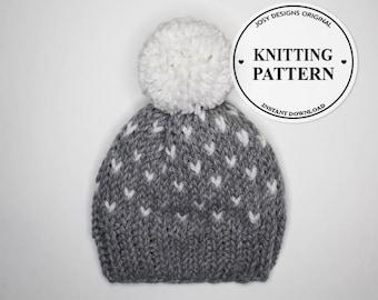 Fair Isle Knit Hat, Grey Fair Isle Knit Hat, Women's Knit Hat, Winter Hat, Knit Hat, Chunky Knit Hat