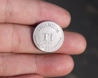 99.5% High Purity TITANIUM Ti Metal Carved Element Periodic Table Coin Shape