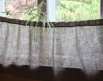 Natural Linen Cafe Curtain, Natural Kitchen Valance, Handmade Window Panel, Rustic Privacy Curtains, Cottage Decor