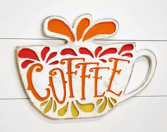 Kitchen Decor Coffee Bar Sign Coffee Cup Kitchen Sign Coffee Sign Kitchen Wall Art Cafe Sign Retro Decor Oversized Coffee Cup Sign