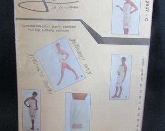 Jalie Pattern 1986 s VINTAGE Full Slip, Half Slip, Camisole, VTG 2947 C Sizes 24 to 42