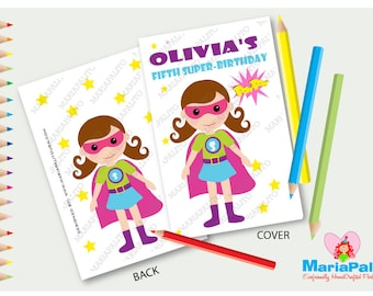 6 Superhero Girl Coloring books, Super Girl Birthday Party, Personalized Coloring Books Party Favors  A1077