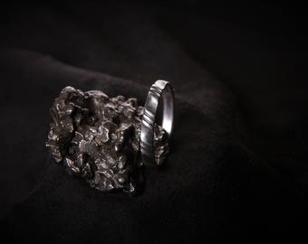 Hand-made silver ring blackened