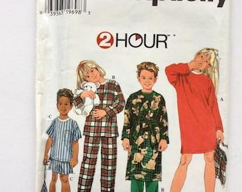 Simplicity 7407, Pattern for Girl's and Boys' Pajamas, Nightshirt, Robe, Pajama Bag, Booties, Size 5, 6, 7, 8, Vintage Uncut Pattern