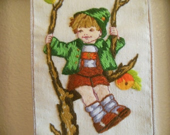 Hummel Needlework Hanging-Vintage handmade 1979
