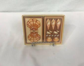 Vintage Hallmark Playing Cards, Bridge 2 Deck Set in Case, Seashells Cards, Beach house decor, Sand dollar collectible, epherma,