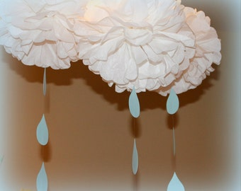 Raindrop pom pom kit  SET OF THREE  baby shower first birthday party decoration itsy bitsy spider rain sprinkle shower