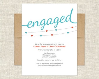 Heart on a String Engagement Party Invitation