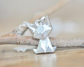 Sterling Silver Origami Cat Necklace, Fox Necklace, Cat Necklace, Cat Charm, Origami Jewelry, Cat Jewelry, Geometric Cat Necklace
