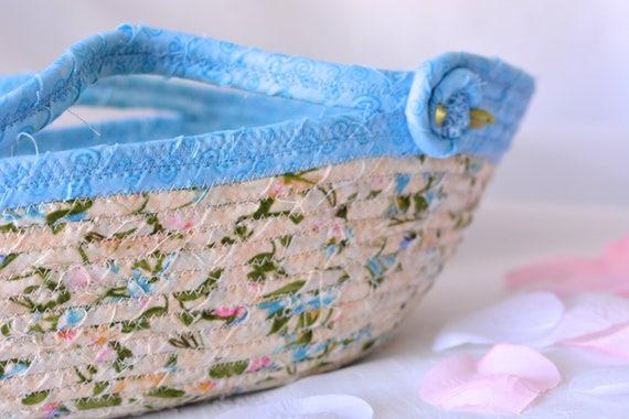 Remote Control Holder Basket, Handmade Artisan Bowl, Eyeglass Holder, Key Ring Bowl, Pretty Desk Accessory, Spring Floral Basket, Handles