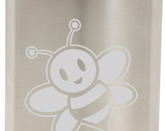 Cute Bumble Bee Etched Hip Flask 8oz