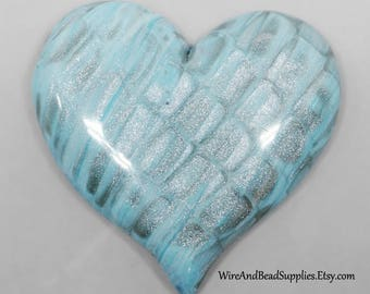 Blue and Silver Heart Shaped Cabochon Polymer Clay Cabochon