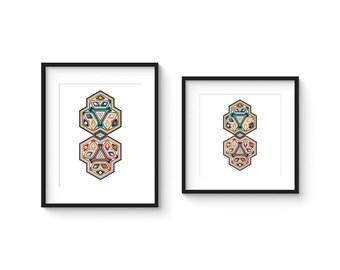 TILE no.20 - Abstract Modern Geometric Haida Boheme Style Tile Art Print