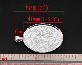 1 pendant Oval silver pr cameo or cabochon 5 x 3.2 cm