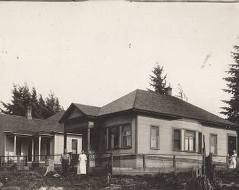 Original Vintage RRPC Photograph Man Women Pose With House 1900s-10s
