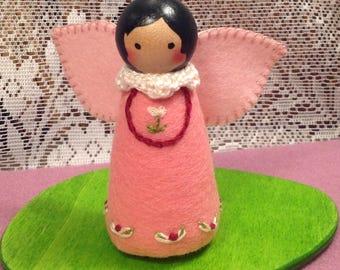 Pink Valentine Peg Doll Fairy