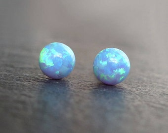 Opal stud earrings, 14K gold filled, sterling silver, opal earrings, blue opal, October birthstone jewelry, bridesmaid earrings, wedding