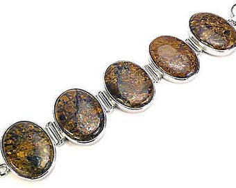 Big Bronzite Jasper and Sterling Silver Bracelet